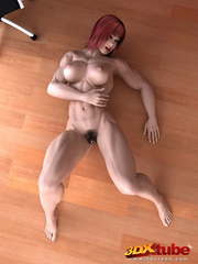Ripped redhead boss with very hairy vagina poses - Picture 7