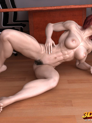 Ripped redhead boss with very hairy vagina poses - Picture 8