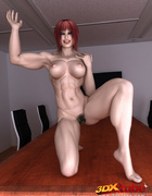 Poised redhead showcases her black bush in the conference room at work.