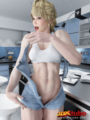 Sexy and fit blonde babe strip all clothing on the - Picture 2