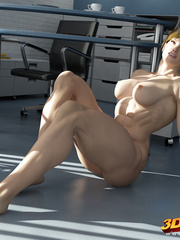 Blonde strongbabe shows off her muscles on her office - Picture 5