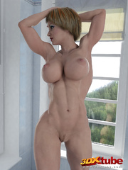 Muscly and busty blonde babe poses with her hot stark - Picture 5
