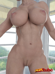 Muscly and busty blonde babe poses with her hot stark - Picture 6