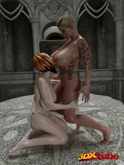 Two lesbians with huge boobs finger each other's - Picture 3