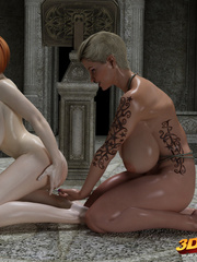 Two lesbians with huge boobs finger each other's - Picture 8