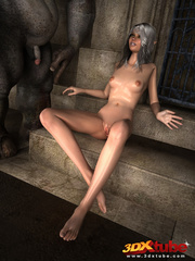 Elf beauty gets naked, sucks and fucks a huge scary - Picture 5