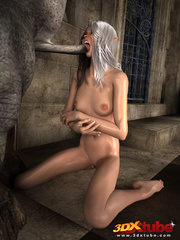 Elf beauty gets naked, sucks and fucks a huge scary - Picture 8