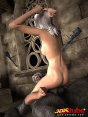 Elf beauty gets naked, sucks and fucks a huge scary - Picture 9