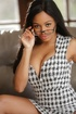 Hot tits ebony in glasses, checkered dress and black lingerie shows tits