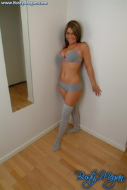 hot brunette grey lingerie