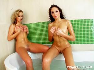 Blonde and brunette gets into bathtub na - XXX Dessert - Picture 6