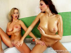 Blonde and brunette gets into bathtub na - XXX Dessert - Picture 7