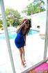 blue dress wearing gal