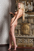 Blonde poses enchantingly in front of a brass waredrobe seducing you