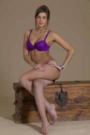 brunette purple bra pose