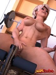 Muscular babe gets her pussy fisted by trainer on gym - Picture 8