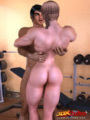 Horny muscular girl rides a hung dick on the floor. - Picture 3