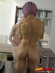 Purple-haired girl gets her pussy fucked on office - Picture 6