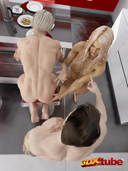 Two ripped blondes fuck a muscular stud in the - Picture 1