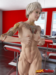 Two ripped blondes fuck a muscular stud in the - Picture 3