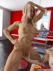 Two ripped blondes fuck a muscular stud in the - Picture 7