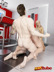Two ripped blondes fuck a muscular stud in the - Picture 8