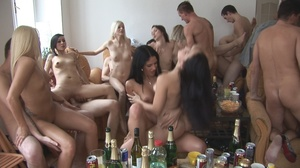 Nasty naked sluts drinking tons of hot cum willingly after lots of booze at the party - XXXonXXX - Pic 5