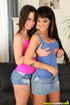 Brunette gals in jeans miniskirt and nice undies mixing lesbian and cock