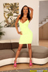 Busty ebony in yellow dress and her redhead mate…