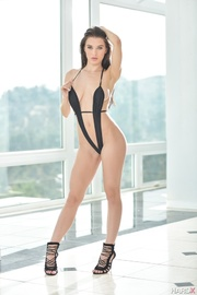 seductive brunette black stripe