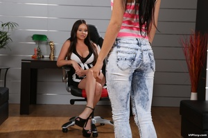 Lesbian bitch pees on her clothed friend then pounds her tight little hole - XXXonXXX - Pic 1