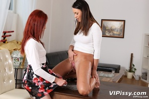 Redhead lets her piss fly right into her brunette friends cute face - XXXonXXX - Pic 4