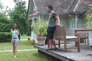Thin bitch gets pissed on outside then fucks her man silly inside - XXXonXXX - Pic 2