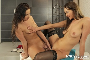 Hot ass bitch pisses on her clothed friend then has the favor returned - XXXonXXX - Pic 13