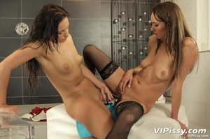 Hot ass bitch pisses on her clothed friend then has the favor returned - XXXonXXX - Pic 14