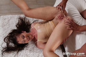 Filthy brunette whore gets her face and chest pissed on after fucking - XXXonXXX - Pic 9
