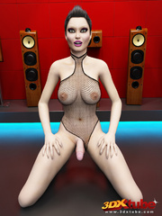 Big breasted tranny in kinky outfit dances and teases - Picture 7