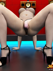 Big breasted tranny in kinky outfit dances and teases - Picture 9