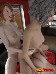 Two sexy trannies pleasure a hung guy in the bedroom. - Picture 9