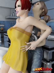 Blonde and redheaded trannies go into the kitchen to - Picture 3