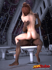 Transsexual space chick sucks on a black cock in the - Picture 5