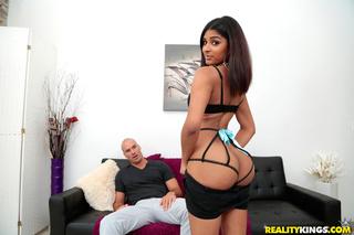 brunette black lingerie exposing
