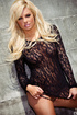 Lusty blonde whore bottomless in black heels and lace blouse, hot round