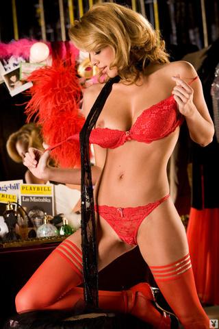 splendid blonde wearing red