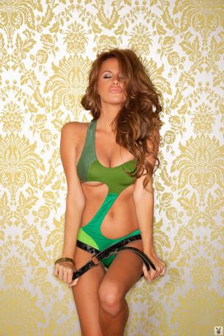 redhead green bathing suit