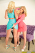 Pastel dresses and panties come off two blondes as they sexually connect