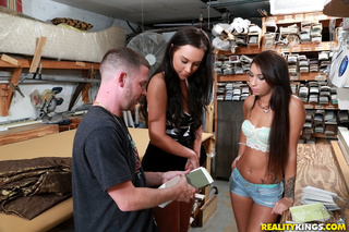 pair young brunettes tasting