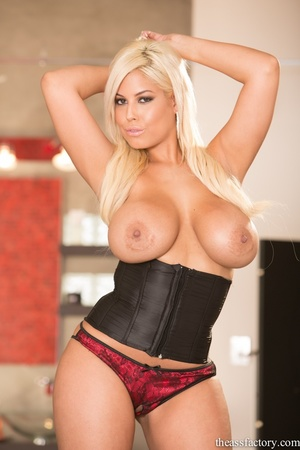 Glamorous blonde in a black corset and r - XXX Dessert - Picture 8