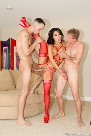 Luring brunette in a red stripy garment  - XXX Dessert - Picture 19