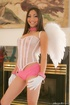 Teasing brunette in black mesh corset pink panties and angel wings getting